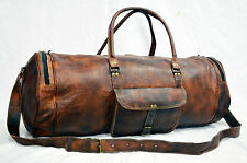 New Men's genuine Brown Leather Retro vintage Large Round duffle travel gym bag