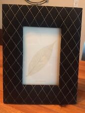 """New in Box! Black Quilted Leather Collectible Photo Frame for 4 x 6"""" photo."""