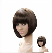 Short Straight Dark Brown Women's Cosplay Heat Resistant Bob Hair Full Wig Wigs