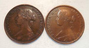 Lot of 2 - 1861 - Canada One Cent - Nova Scotia - 1¢ - Victoria - LR & SR