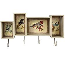 Shabby Chic Vintage Style Cream Bird Butterfly Shelf Storage Wall Hooks