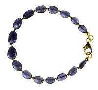 Iolith / Wassersaphir Armband 925 Silber vergoldet Armkette Z198