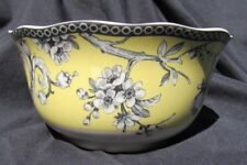 """New 222 Fifth Adelaide Yellow Set of 4 Cereal Ice Cream Bowls Toile 5.75"""" diam."""