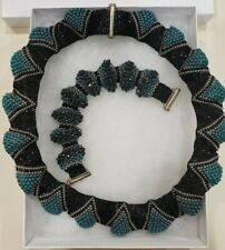 "Handmade Woven 18"" Glass Seed Bead Necklace & 7"" Cuff Bracelet Textured Design"