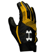 Under Armour White Clean Up Baseball Gloves, Youth, Black & Yellow
