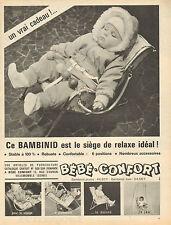 Publicité Advertising 1964  BEBE CONFORT Bambinid siège de relaxe idéal !!