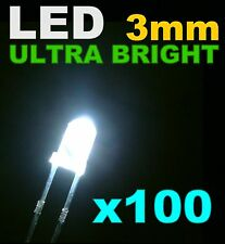 211/100# LED Blanche 3mm 100pcs+ résistance -> 20000mcd