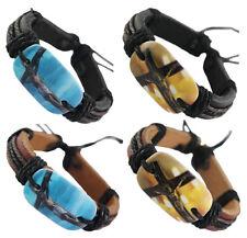 wd154 wholesale lots 4pcs cross Jesus surfer adjustable leather bracelet jewelry