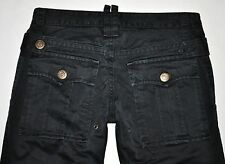 "DSQUARED 2 Women's Black Slim Straight Pants Size 46 US 10 (W31.5"" L34"") ITALY"