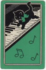 Playing Cards Single Card Old Vintage KITTEN CAT + Bow PIANO MUSIC Art Design 1