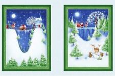 P&B Textiles Christmas Village 100% cotton fabric panel  24 x 44 Santa Reindeer