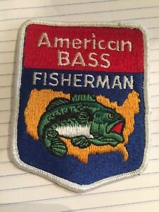 Vintage American Bass Fisherman patch, Fishing patch.