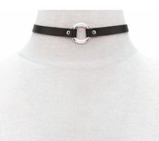 Damen Halsband Halskette gold silber schwarz Gothic Blogger Kette PU-Leder neu