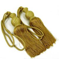 Luxury Gold Curtain Tassels sold in Pair Exquisite Long Tassel Fringe Tie Backs