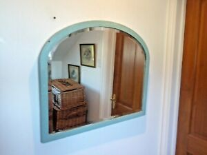 Early 20th C. Bevelled Edge Mirror In Arched Frame 66cm x 56cm
