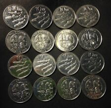 OLD ICELAND COIN LOT - 16 High Grade 10 Kronur Coins - FREE SHIPPING