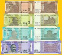 India Set 10,20,50,100  Rupees 2018-2019 UNC Banknotes