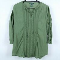 RALPH LAUREN Womens Green Long Sleeve Blouse Tunic Top Green Label SIZE Medium