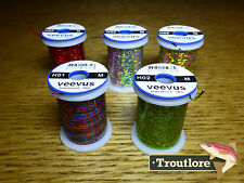 5 x SPOOLS MEDIUM VEEVUS HOLOGRAPHIC TINSEL THREAD - NEW FLY TYING MATERIALS