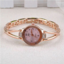 Ladies Fashion Rose Gold Quartz Pink Dial & Rhinestone Bracelet Wrist Watch.