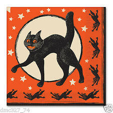 HALLOWEEN Party Luncheon Napkins Vintage SCRATCH CAT & MOON Beistle Reproduction