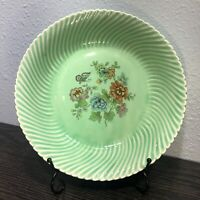 Vintage Limoges China Co. USA Swirled Green 9 1/4'  Vegetable Bowl  1928