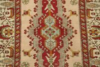ANTIQUE Geometric Tribal Sarab Hand-Knotted Beige Area Rug Wool Carpet 4'x6'