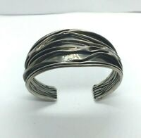 Vintage Sterling Silver Cuff Mexico Abstract Art Deco Modern Shadow 925 Toned