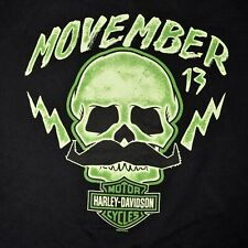 Harley Davidson Motorcycles Movember Moustache T Shirt Size XXXL  3XL Black 2013