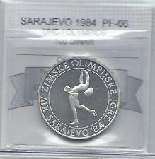 **1984**Sarajevo Olympics, 100 Dinar **Coin Mart Graded **PF-66 UHC**Skating