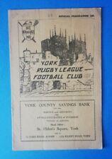 York v Hull K.R., 30/03/1959 - League Match Programme.