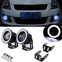 "Pair 3.5"" COB LED Fog Light Projector Car Angel Eyes White Halo Ring DRL Lamp CY"