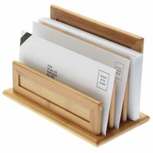 3-Slot Letter Holder, Paper Sorter Rack, Made of Bamboo