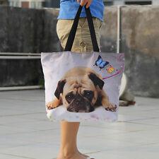 Pug Dog Soft Women Shopping Bag Foldable Tote Shoulder Bag Lady Handbag Pouch