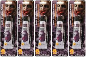 LOT OF 5 - Rubie's 33581 Zombie Gray Cream Makeup Water Washable NEW 1 oz SEALED