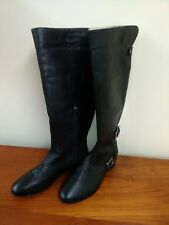 Pilar Abril BLACK NAPPA LEATHER Tall Flat Black Boots Size 6 1/2, faux shearling
