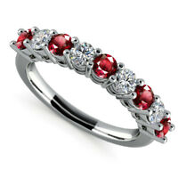 Natural Diamond 0.97 ct Eternity Ruby Gemstone Ring Real 14K White Gold Size 7.5