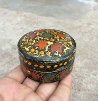 VINTAGE BEAUTIFUL HAND MADE & PAINTED PAPER MACHE- FLORAL ART BOX