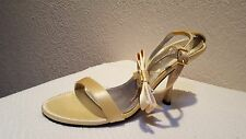 NEW GORGEOUS GOLD SATIN SEXY ANKLE STRAP SANDALS  5.5