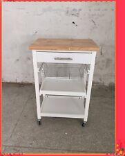 Kitchen Cart Kitchen Trolley White Wooden Cabinet Solid Wood Benchtop SKT812