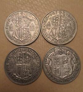 4 Key Date Rare George V Silver Coins - Half Crowns 1925, 1930 X 2, 1932