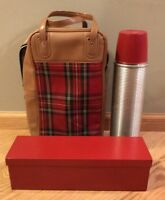 Thermos Vintage 1950's USA Red & Black Plaid Picnic Lunch Set Bag Cork Tin Box