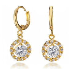 Yellow Gold Filled Jewelry Gem Gemstone Diamond Dangle vintage Earrings 066