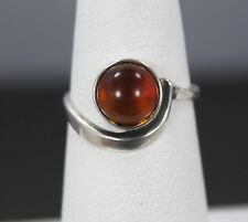 Sterling Silver Amber Ring Size 5.75