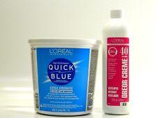 L'OREAL QUICK BLUE EXTRA STRENGTH POWDER BLEACH & OREOR CREME 40 VOL 1 6oz.  set