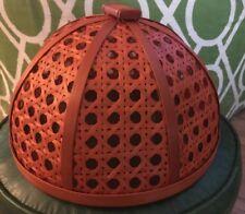 Large Domed Food Cover Rattan Cane Orange Picnic