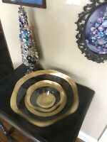 Badash Crystal Bowl Set Murano Style Ruffle Edge Gold Leaf Art Glass Perfect