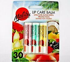 Choice 1, 2, or 3  Malibu Flavoured Lip Care Balms  SPF 30 UVA/UVB Free Post UK