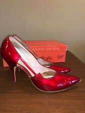 SEXY VTG 1950's SPIKE High Heels Red REAL Patent Leather STILETTO  6 1/2 B Shoe
