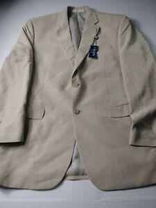 New Chaps Mens Sport Coat Size 42L Beige Two Button Vented Modal Blend